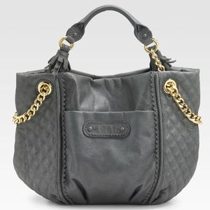 Juicy Couture Brogue Gray Duchess Leather tote